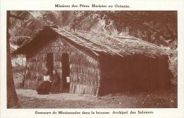 ILES SALOMON MISSIONS DES PERES MARISTES DEMEURE DE MISSIONNAIRE DANS LA BROUSSE - Salomon