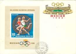 1967   Jeux Olympiques De Mexico  Coureuses  Bloc-feuillet  MiNr Block 65A - FDC