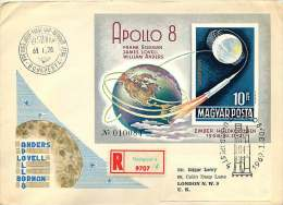 1969  Vol Vers Al Lune Apollo 8 Bloc Feuillet Non Dentelé  MiNr Block 68B - FDC