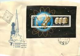 1962  Astronautes Soviétiques Gagarin Et Titov Et Américain Glenn Bloc-feuillet MiNr Block 33A - FDC