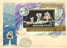 1969  Premier Alunissage Humain Apollo 11   Bloc Feuillet MINr Block 72A - FDC