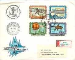 1974  Exposition Internatioanle D'aérophilatélie  : Avion, Zeppelin, Montgolfière, Hélicoptère Bloc De 4 Se-tenant - FDC