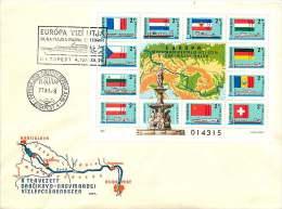 1977   Navigation Danube - Main - Rhin Carte, Drapeaux Bloc-feuillet MiNr Block 128A - FDC