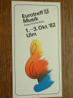 Eurotreff MUSIK Baden Württemberg 1 - 3 Okt. ' 82 ULM ( Formaat Sticker / Zelfklever 7,5 X 14 Cm.) Details Zie Foto ! - Musique & Instruments