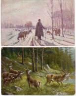 2  CPA - Paysages Avec Animaux -   (58835) - Peintures & Tableaux