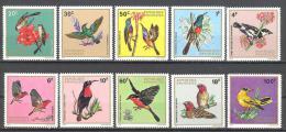 Rwanda: Yvert n�464/73**; MNH; oiseaux; birds; V�gel; ondole souimanga gobe mouches senegali gonolek loriot