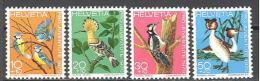 Suisse: Yvert N°868/71; Oiseaux; Birds; Vögel; Mesange Bleue; Huppe; Pic Epeiche; Grèbe Huppé - Suisse