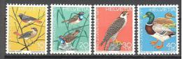 Suisse: Yvert N°891/4; Oiseaux; Birds; Vögel; Roufe Queue; Gorge Bleue; Faucon Pelerin; Canard Sauvage - Suisse