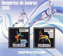 gb10212a-g Guinea Bissau 2010 Winter Olympic Games Freestyle Skiing Gold s/s