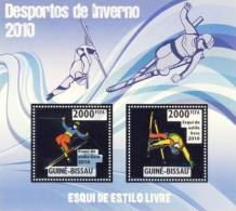 gb10212a-s Guinea Bissau 2010 Winter Olympic Games Freestyle Skiing Silver s/s