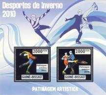 gb10210a-s Guinea Bissau 2010 Winter Olympic Games Figure Skating Silver s/s