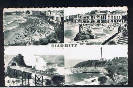 RB 935 - 1955 Multiview Postcard - Biarritz France - 18c Rate To UK - Biarritz Pays Basque Reine Des Plages Slogan - Biarritz