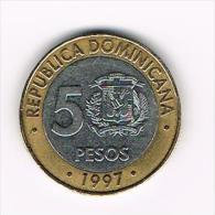 - DOMINICAANSE  REPUBLIEK  5 PESO  1997 - Dominicaine