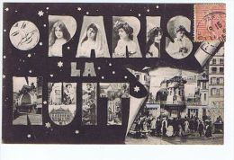 Cpa, Paris La Nuit , Montage Lune, Femmes, Moulin Rouge - France