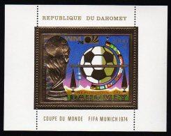 Gold S/Sheet DAHOMEY 1000 Fr.(Football/Soccer) Mnh 1974 - Coppa Del Mondo