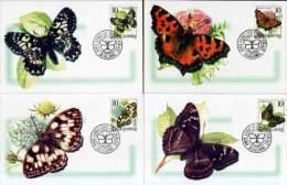 Yugoslavia 2000 Fauna, Butterflies, Insects, 4 Maxicards - 1992-2003 Federal Republic Of Yugoslavia