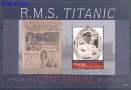 Mayreau 2012 Mi Bl24 MNH - Titanic, Ships, Newspaper, Famous People, Photography - Célébrités