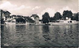 AMPHION-les-BAINS (Haute-Savoie) - Hôtel BELLE RIVE Et Le Débarcadère (un Bateau à Quai) - Carte Neuve, 2 Scans - Autres Communes