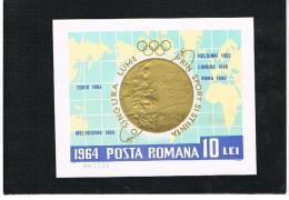 ROMANIA   - YV. BF 60 -  1964 MEDAGLIE D' ORO AI GIOCHI OLIMPICI DI TOKYO  -   FOGLIETTO NUOVO (MINT)** - Summer 1964: Tokyo