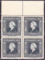 Ned. Indië: 1945-46 Koningin Wilhelmina 60 Cent Leigrijs In Postfris Randblok Van 4 NVPH 314 - Indes Néerlandaises