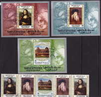 UPPER YAFFA 1967  Tableaux De Da Vinci Série Complète  Bande De 5 + 3 Blocs Michel 23-27, Blocs 25-27 - Yemen
