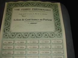 """Action""""Voie Ferrée Indéformable""""Lyon 1905 Excellent état,avec Tous Les Coupons. - Chemin De Fer & Tramway"""
