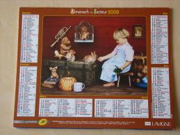 Calendrier ALMANACH DU FACTEUR PTT - 2008 - Enfants & Animaux - LAVIGNE - Aisne 02 - Très Bon état - Calendarios