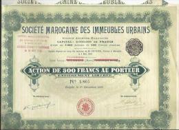 """Action Et Ses 11 Coupons De La """"Société  MAROCAINE Des Immeubles Urbains"""" Siège Social OUDJDA Rayé  Et Remplacé Par CASA - Actions & Titres"""