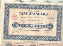 """Action  Entière Comme Neuve Et Ses 30 Coupons De La """" Société Anonyme CAFE STANDARD """" Siège Social à CLICHY - Actions & Titres"""