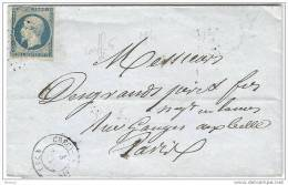 Lettre De Crécy Du 3 Août 54 Oblitérée D´un Losange Petits Chiffres1029 - 1853-1860 Napoleon III