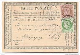 Carte Postale De Mai 1876 Avec Deux Timbres TTB Oblitéré De Paris Le 28 Juin 76 - 1870 Siege Of Paris