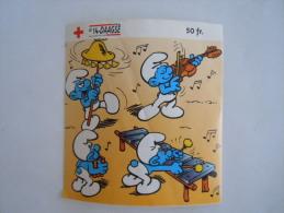 Sticker Autocollant 1996 Rode Kruis Croix Rouge Red Cross Smurf Smurfs  Schtroumpf Muzikanten Musiciens - Stickers
