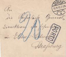 LAC De ZABERN Du 10.9.13 Non Affranchie + PORTO Avec Taxe 20 Au Crayon Bleu - Elsass-Lothringen