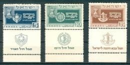 Israel - 1949, Michel/Philex No. : 19/20/21, - MNH (19/20) MLH (21)- *** - Full Tab - Neufs (avec Tabs)