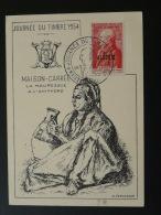 Carte Maximum  (maximum Card) Journée Du Timbre 1954 Maison Carrée Algérie - Cartes-maximum
