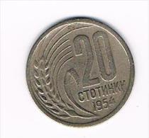 - BULGARIJE  20 STOTINKI  1954 - Bulgarie