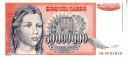 Yugoslavia P.123 50000000 Dinar 1993 Unc - Yugoslavia