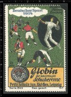 Old Original German Poster Stamp (cinderella,reklamemarke)  Globin Creme For Shoes - Sport Tennis Hockey - Tennis
