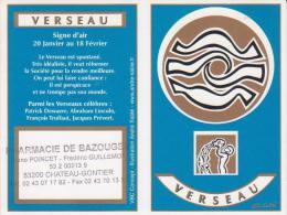 Calendrier De Poche Verseau - Année 2008 - Calendari