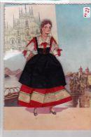 12) CARTOLINA COSTUME REGIONALE - LOMBARDIA  -COMPOSIZIONE  IN STOFFA E FILO -ARTIGIANALE A MANO- - Costumes