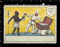 Old German Poster Stamp (cinderella Vignette Reklamemarke) German Colonies - Black Americana - Cinderellas