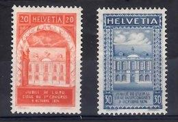 SWITZERLAND 50th Anniversary Of UPU (1924) 2 Values Mounted Mint - Nuovi