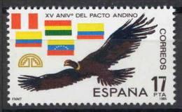 TIMBRE ESPAGNE NOUVEAU 1985 ANNIVERSAIRE DE L´ACCORD ANDIN - CONDOR DE LES ANDES - DRAPEAUX - Águilas & Aves De Presa
