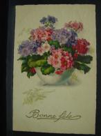 CP. 438. Bouquet De Fleurs Dans Un Vase. Bonne Fête - Fleurs, Plantes & Arbres
