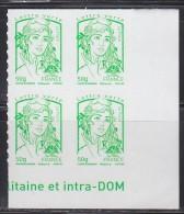 = Marianne Et La Jeunesse Autocollant X 4 Lettre Verte -50g, Coin De Feuille Bas N°859 - 2013-... Marianne Van Ciappa-Kawena