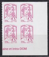 = Marianne Et La Jeunesse Autocollant X 4 Lettre Prioritaire -100g, Coin Bas De Feuille N°856 (4772) - 2013-... Marianne De Ciappa-Kawena
