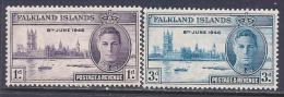 Falkland Islands, Scott # 97-8 Mint Hinged Peace Issue, 1946 - Falkland Islands