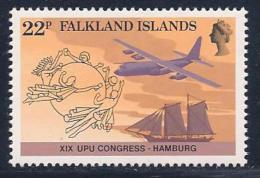 Falkland Islands, Scott # 411 MNH UPU, Ship, Plane, 1984 - Falkland