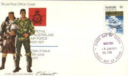 (346) Australia FDC Cover - Premier Jour - 1971 - RAAF Jubilée - RAAF Pilots - FDC