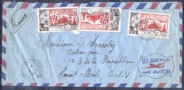 SAINT PIERRE ET MIQUELON   Lettre  En  POSTE AERIENNE  Le 10 6 1954  Avec 3 Timbres  Pour SAINT MALO - Poste Aérienne
